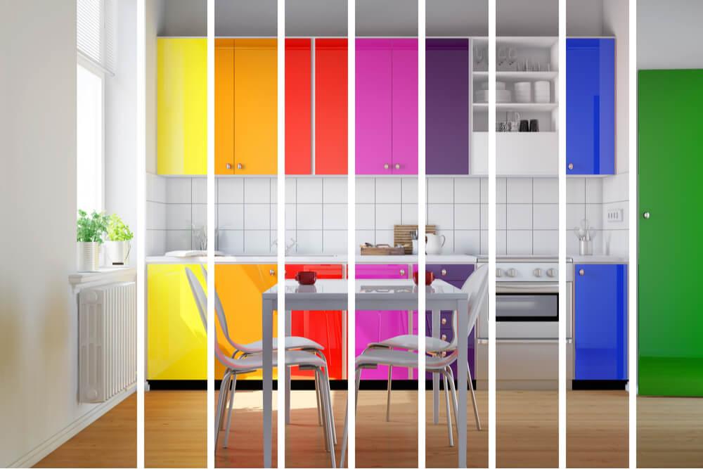 decoração para uma cozinha colorida planejada